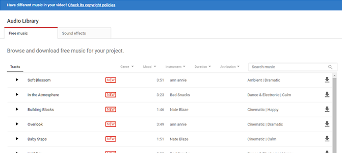 Youtube sound databank